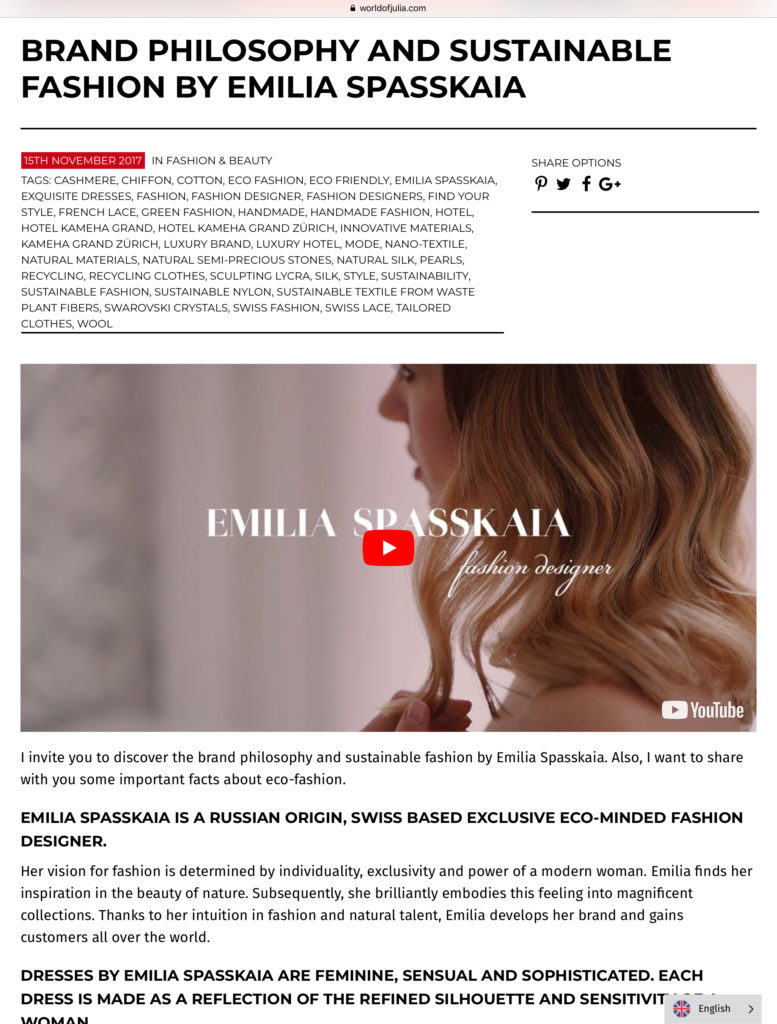 News Emilia Spasskaia Fashion Designer